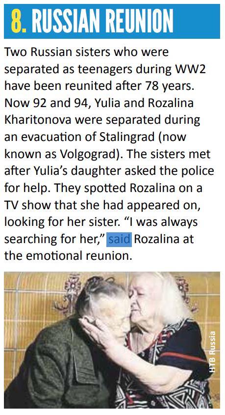Extract From First News About Russian Reunion