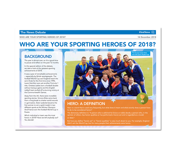 Activity Sheet Debate Example Who Are Your Sporting Heroes of 2018?