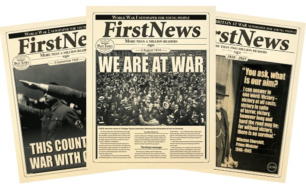 First News Special Editions WW1 and WW2 Newspaper Front Covers